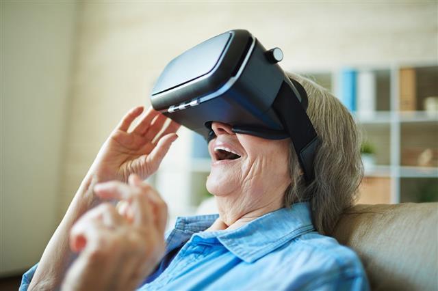 Granny Enjoying Virtual Reality