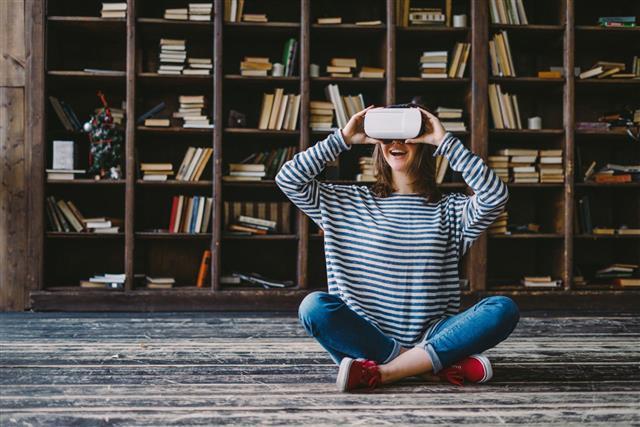 Woman Wearing Virtual Glasses