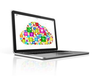 Cloud Computing Symbol On Laptop