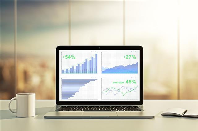Laptop With Financial Statistics On Desktop