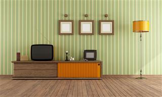 Retro Tv In A Living Room