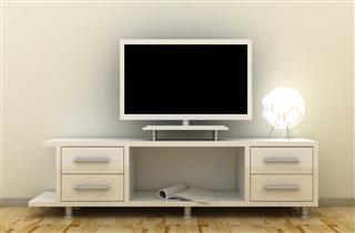 Empty Led Tv On Television Shelf