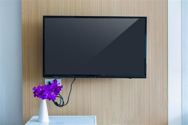 Black Led Tv Television Screen Mockup