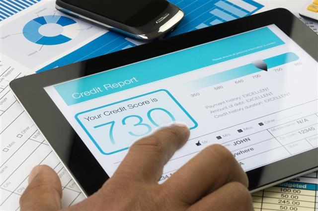Credit report on a digital tablet