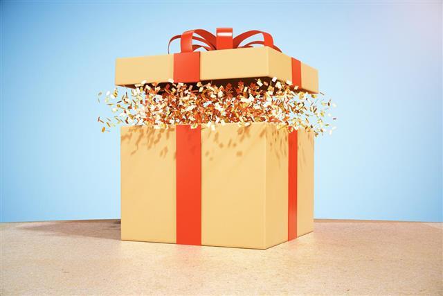 Brown gift box on desktop