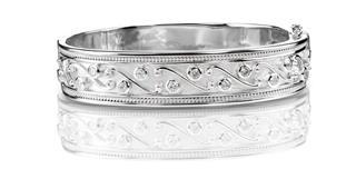 SIlver diamond bangle bracelet