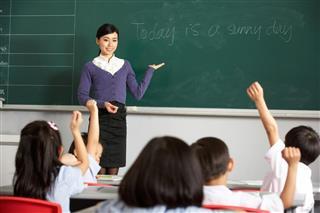 Teacher teaching English in Chinese school classroom