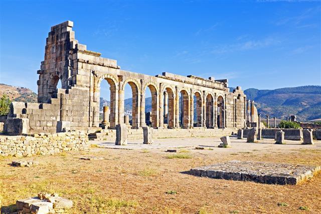 Volubilis - Roman basilica ruins in Morocco North Africa