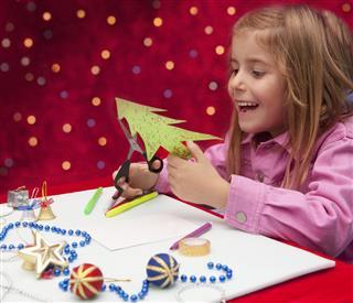 Child making decoration