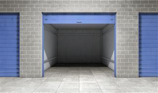 Empty open door self storage unit . 3d rendering
