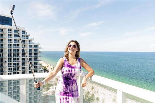 Fort Lauderdale Beach Woman Having Fun Taking Selife Vacation Travel