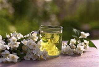 Jasmine tea in garden