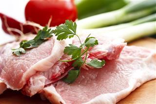Raw fresh pork meat