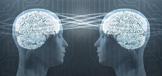 Telepathy: two cyborg human heads and circuit brain mind control