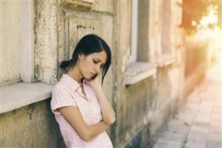 Depressed girl outside