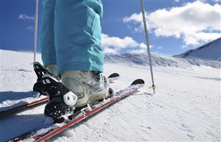 Legs of alpine skier