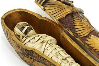 Close up of ancient mummy casket