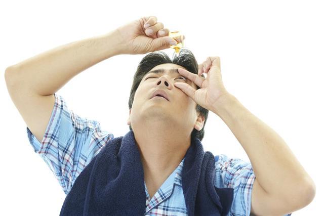 Man with eyestrain