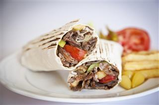 Eastern traditional shawarma Turkish doner durum