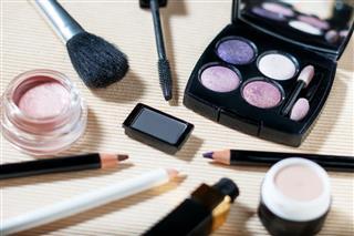 Makeup set of eyeshadows brow powder mascara primer eye pencils