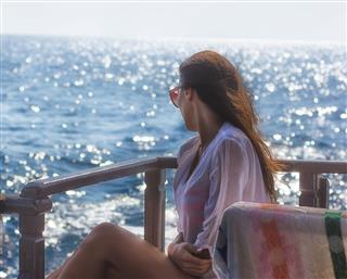 Beautiful Girl Enjoying In Cruise