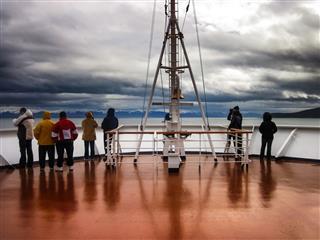 Tourists At The Stern Alaskan Cruise Ship