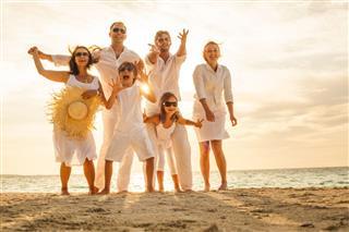Cheerful Family Beach Sunny Afternoon