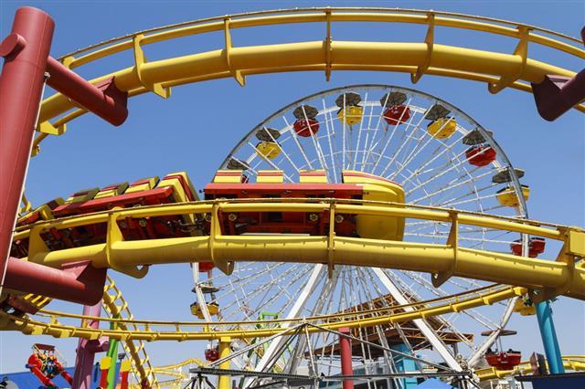 Colorful Amusement Park Rides