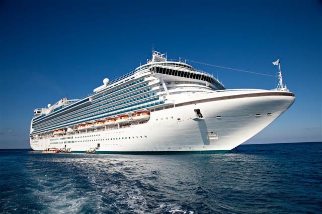 Cruise Ship Anchored In The Caribbean