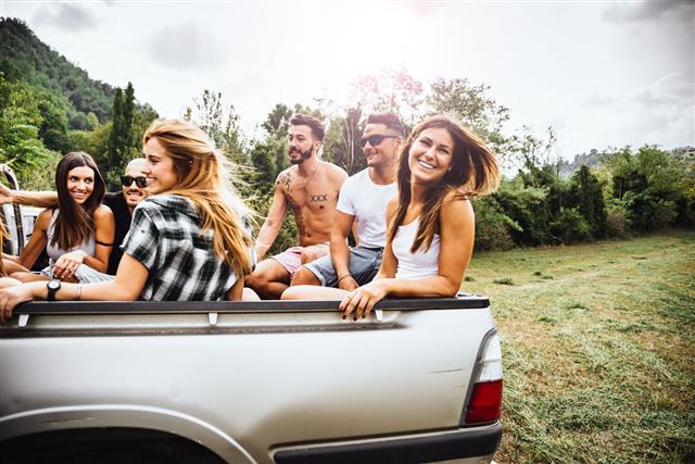 Friends Have Fun On The Van