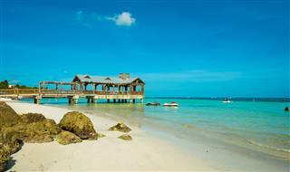 Covered Pier On Florida Keys Shoreline