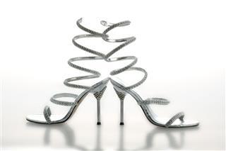 Silver Ankle Strap Stilettos