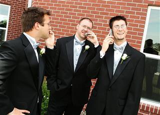 Groomsmen On Cellphones