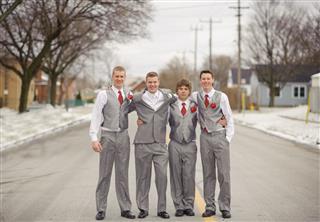Wedding Groomsmen Standing Outside During Winter