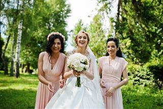 Bridesmaids On Pink Dresses
