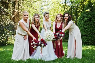 Bride With Four Bridesmaids