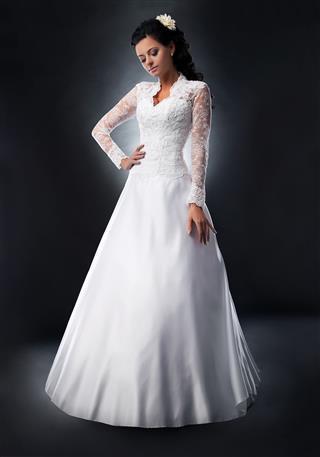 Attractive Bride Brunette Fashion Model