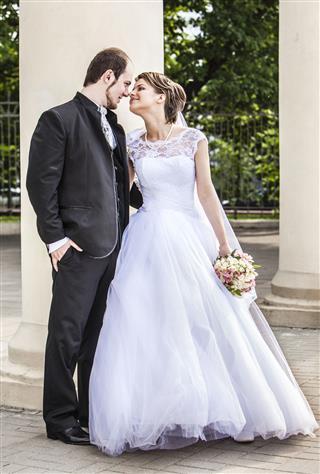 Beautiful Couple Bride In Wedding Dress