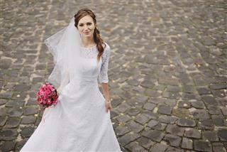 Bride And Groom Wedding With Dog