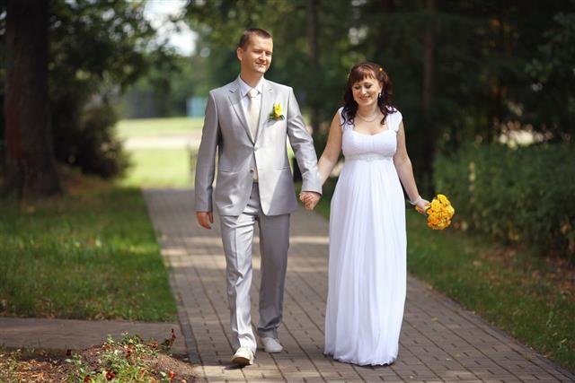 Bride And Groom Wedding Walk