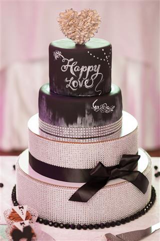 Decorated Chocolate Wedding Cake