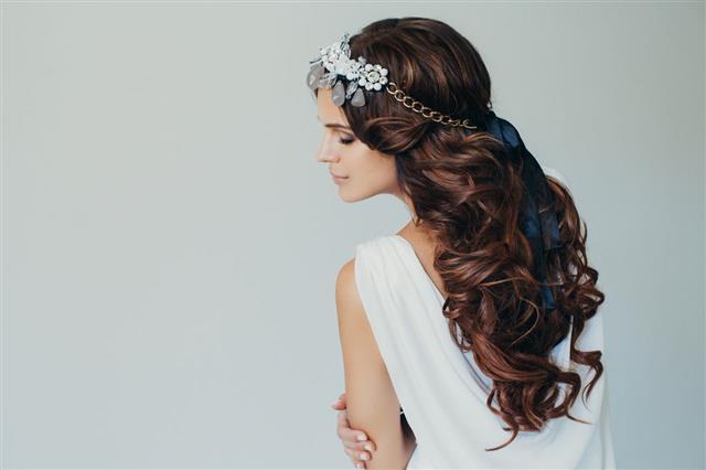 Studio Shot Of Young Beautiful Bride