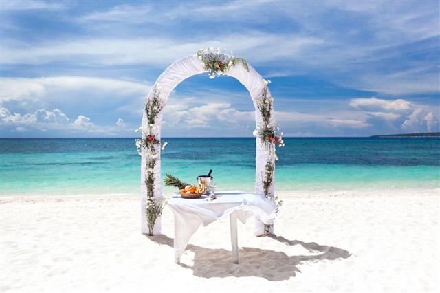 Beautiful Wedding Arch On Tropical Beach