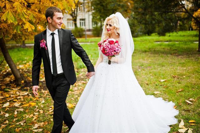 Wedding couple under veil