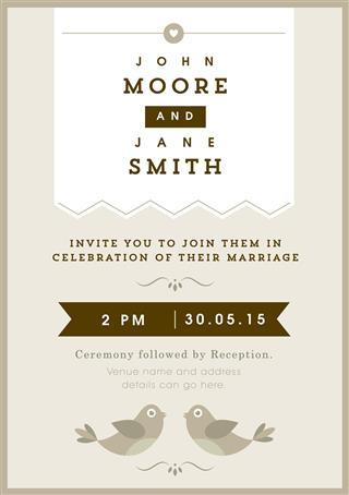 Wedding invitation bird theme
