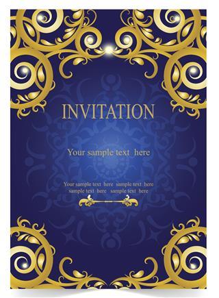 Blue wedding card