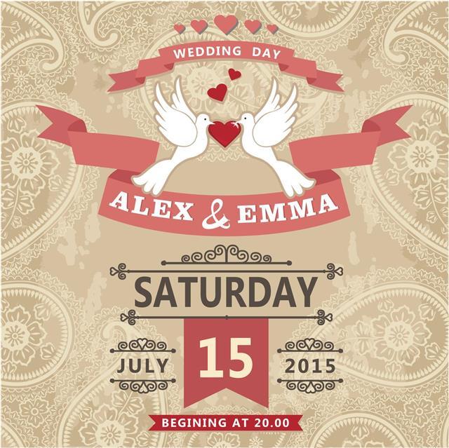 Wedding invitation with pigeon couple