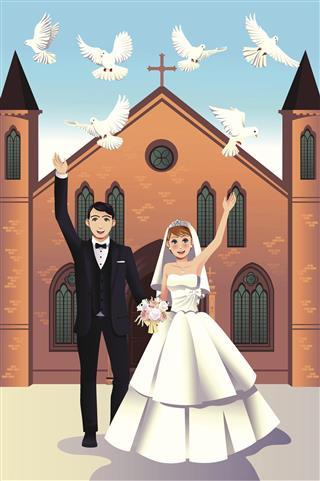 Wedding Couple releasing doves