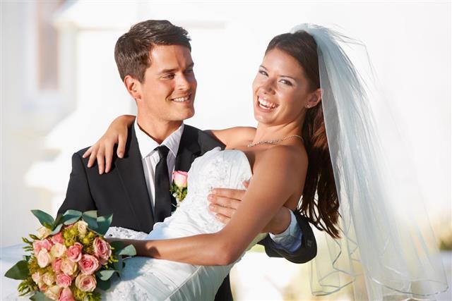 Happy newlyweds couple