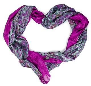 Purple Silk Scarf In Form Of Heart